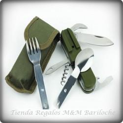 Cuchillo con Tenedor, Cuchara y Destapador