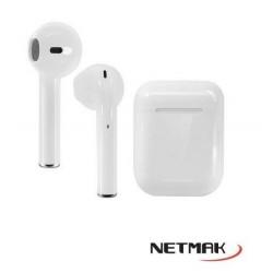 Earbuds Livianos Touch Bluetooth C/ Base De Carga Portatil Marca Netmak (Ly)